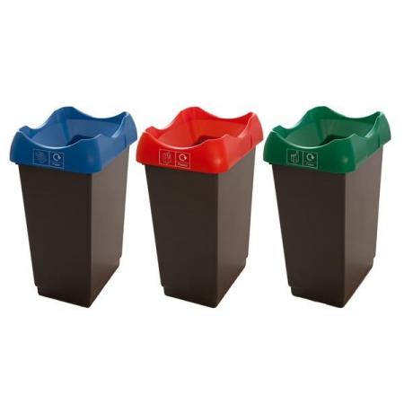 Set Of 3 Open Top Recycling Bins - 50 Litre
