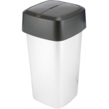 Metal Look Trap Door Waste Bin - 60 Litre