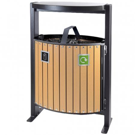 Wood Effect Dual Litter & Recycling Bin - 78 Litre