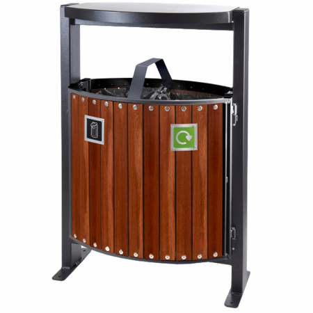 Hardwood Dual Litter & Recycling Bin - 78 Litre