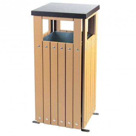 Square Wood Effect Waste Bin - 36 Litre