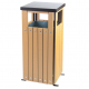 Square Wood Effect Waste Bin - 36 Litre