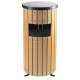 Round Wood Effect Waste Bin - 33 Litre