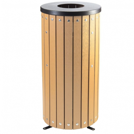 Open Top Wood Effect Waste Bin - 40 Litre