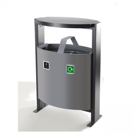 Steel Dual Litter & Recycling Bin - 78 Litre