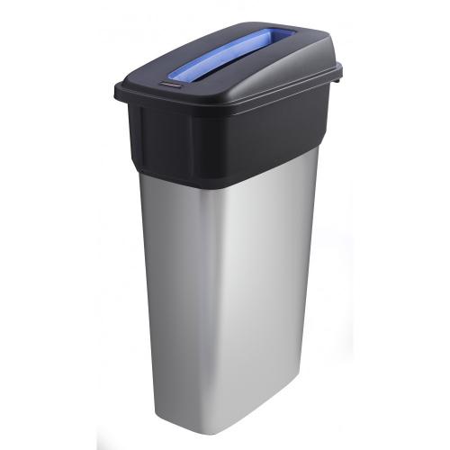 Slim metal look plastic recycling bin 55 litre buy online from bin shop - Slimline waste bin ...