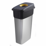 Slim Metal Look Plastic Recycling Bin - 70 Litre