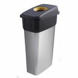 Slim Metal Look Plastic Recycling Bin - 70 Litre