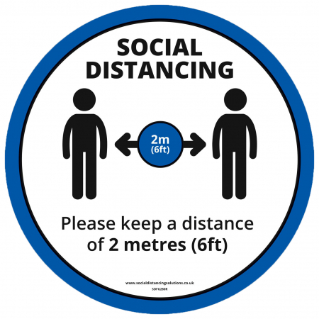 Social Distancing Blue Floor Graphic - 2m Distance - 280mm - Multipack