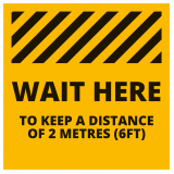 Social Distancing Floor Graphic - Wait Here - 260mm - Multipack
