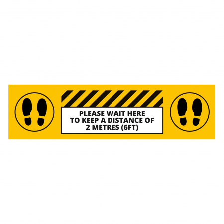 Social Distancing Floor Graphic - Wait Here - 600mm - Multipack