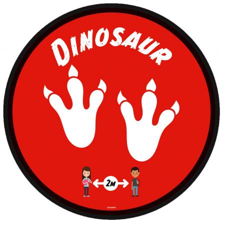 Social Distancing Floor Graphic - Dinosaur - 280mm - Multipack