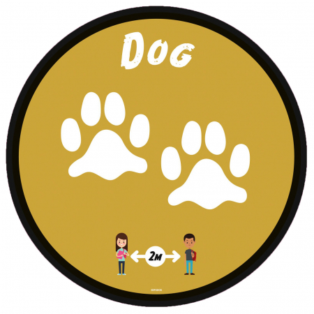 Social Distancing Floor Graphic - Dog - 280mm - Multipack