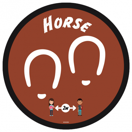 Social Distancing Floor Graphic - Horse - 280mm - Multipack