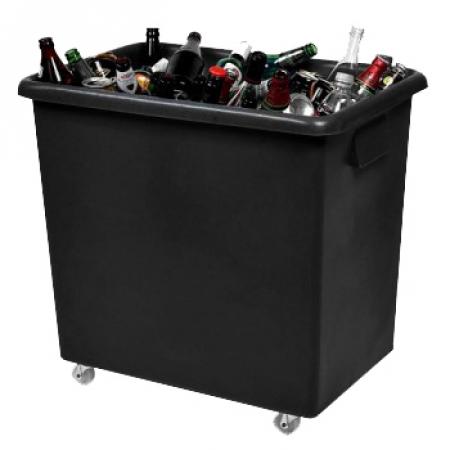 Recycled Black Wheeled Bottle Bin - 135 Litre