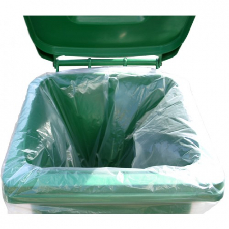 240 Litre Clear Recycled Wheelie Bin Liners - 100 Liners Per Box