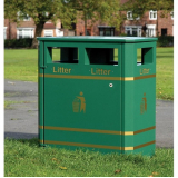 Derby Double Steel Litter Bin - 240 Litre Capacity
