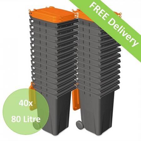 40x 80 Litre Wheelie Bins