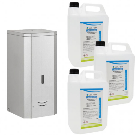 Automatic Sanitiser & Liquid Soap Dispenser - 1 Litre Capacity with Hand Rub Pack