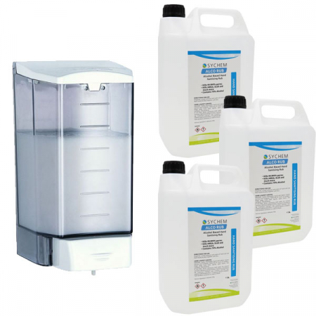 Push-Button Sanitiser & Liquid Soap Dispenser - 1.1 Litre Capacity with Hand Rub Pack