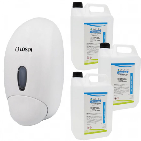 Push-Button Sanitiser & Liquid Soap Dispenser - 900ml Capacity with Hand Rub Pack