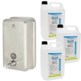 Stainless Steel Sanitiser & Liquid Soap Dispenser - 1200ml Capacity with Hand Rub Pack