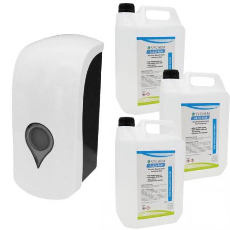 Manual Sanitiser & Liquid Soap Dispenser - 1 Litre Capacity with Hand Rub Pack