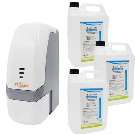 Push-Button Sanitiser & Liquid Soap Dispenser - 700ml Capacity with Hand Rub Pack