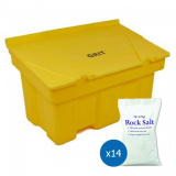 12 Cu Ft Grit Bin with 14x 25 kg Bags of White Rock Salt