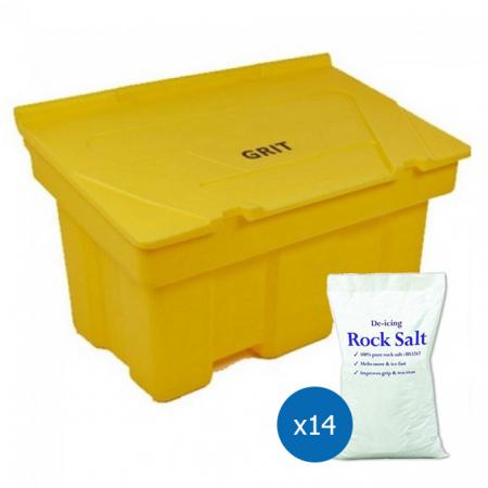12 Cu Ft Grit Bin with 14x 25 kg Bags of White Rock Salt