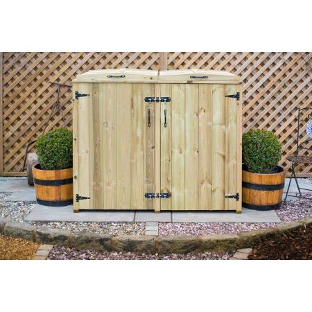 Double Chest Timber Wheelie Bin Store