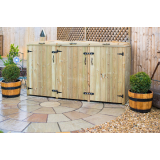 Triple Chest Timber Wheelie Bin Store