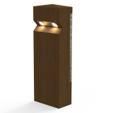 Stratton Double Solar LED Lighting Larch Timber Bollard