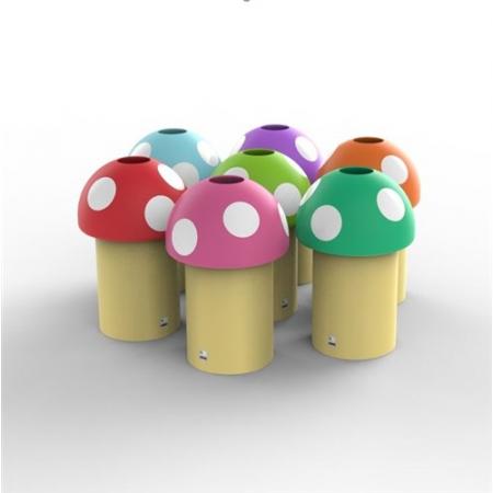 Novelty Mushroom Litter Bin with Optional Smiley Face