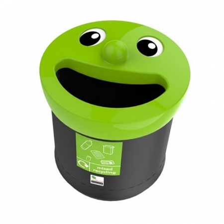 Novelty Smiley Face Recycling Bin - 40 Litre