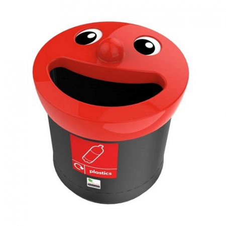 Novelty Smiley Face Recycling Bin - 52 Litre
