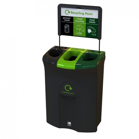 Meridian Recycling Bin with Three Open Apertures - 110 Litre