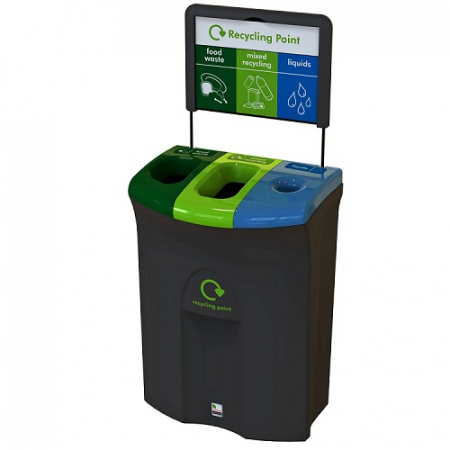Meridian Recycling Bin with Two Open & Liquid Apertures - 110 Litre