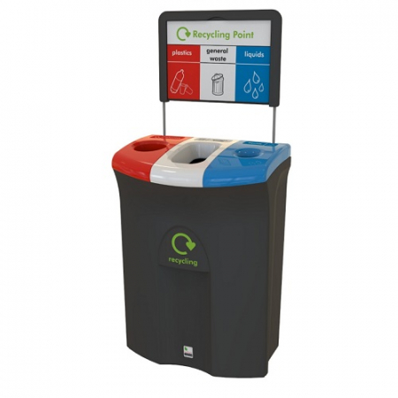 Meridian Recycling Bin with Hole, Open & Liquid Apertures - 110 Litre