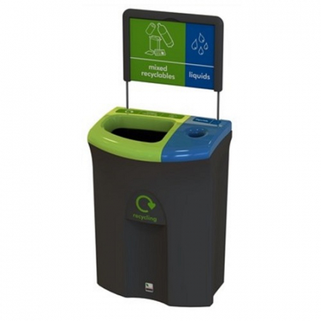 Meridian Recycling Bin with Open & Liquid Collection Apertures - 110 Litre