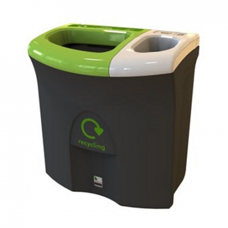 Mini Meridian Recycling Bin with Twin Open Apertures - 87 Litre