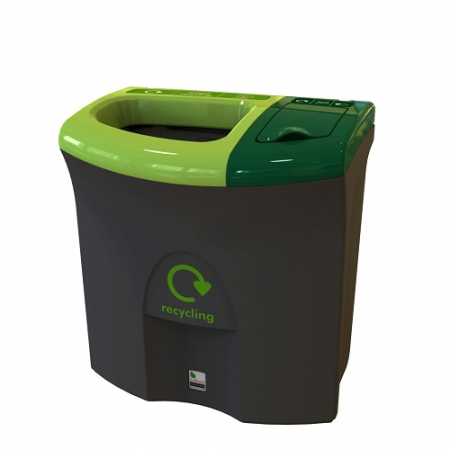 Mini Meridian Recycling Bin with Open & Lift Up Apertures - 87 Litre