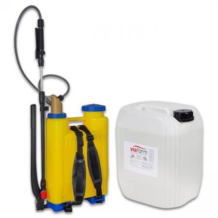 Viaform Non-Corrosive Liquid De-Icer - 15 Litre Jerry Can & Backpack Sprayer Kit