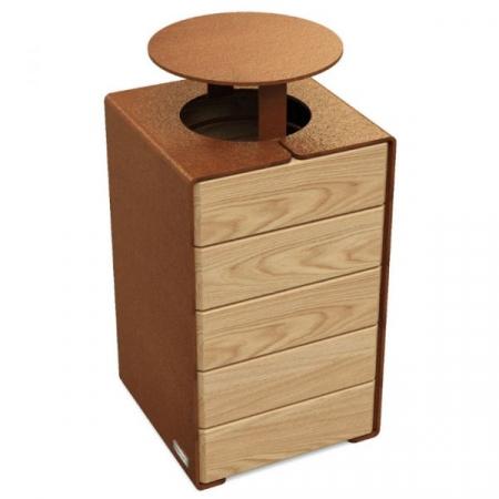 Kube Design Wood and Steel Litter Bin - 120 Litre