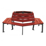 Silaos Wood and Steel Tree Bench