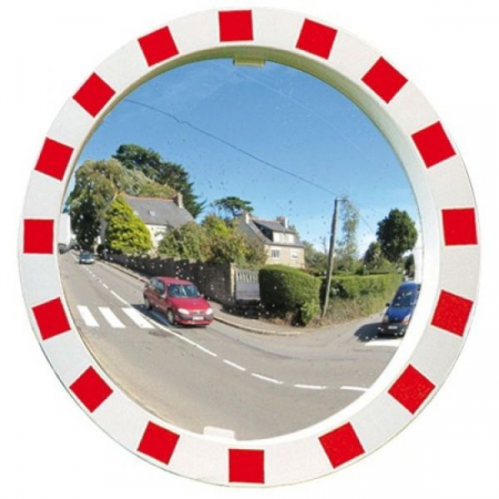 600mm Diameter P.A.S Traffic Mirror with Red & White Frame