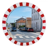 1000mm Diameter Stainless Steel Traffic Mirror with Red & White Frame