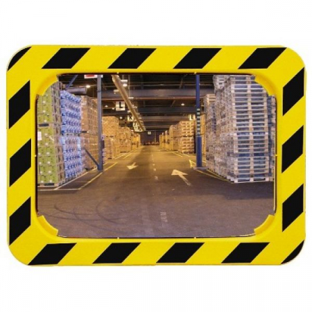 600 x 400mm P.A.S Yellow and Black Framed Industry and Workplace Mirror