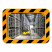 800 x 600mm Polymir Yellow and Black Framed Industry and Workplace Mirror
