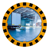 600mm Diameter Polymir Yellow and Black Framed Industry and Workplace Mirror